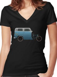 Camper Bike Women's Fitted V-Neck T-Shirt