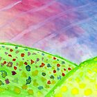 Watercolour Field. Hand Painted Meadow Landscape by GrishkaBruev
