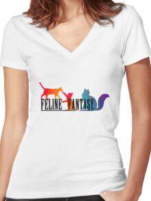 Feline Fantasy - Final Fantasy  Women's Fitted V-Neck T-Shirt