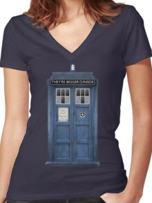 They're Bigger on the Inside! Women's Fitted V-Neck T-Shirt