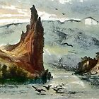 Citadel Rock on the Upper Missouri from an aquatint by Karl Bodmer 19th century by Dennis Melling
