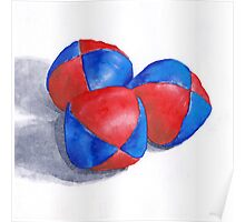 blue and red juggling balls Poster