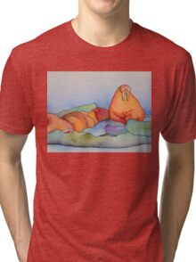 Warm Walrus Contemplating Cool Wishes Tri-blend T-Shirt