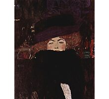 Klimt Lady with Hat and Feather Boa Photographic Print