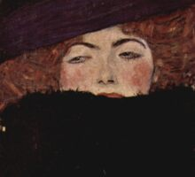 Klimt Lady with Hat and Feather Boa Sticker