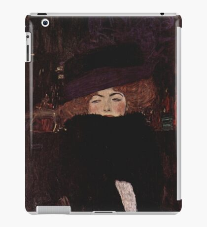Klimt Lady with Hat and Feather Boa iPad Case/Skin