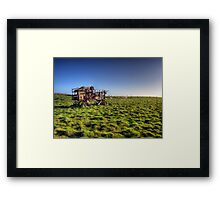 decaying farm machinery on Alderney Framed Print