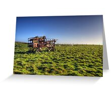 decaying farm machinery on Alderney Greeting Card
