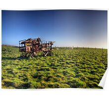 decaying farm machinery on Alderney Poster