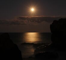 Full moon over the misty ocean - Burleigh Heads, Gold Coast, Australia by kdrummondphotos
