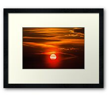 Orange Sky And Dramatic Clouds Framed Print