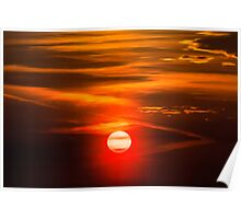 Orange Sky And Dramatic Clouds Poster