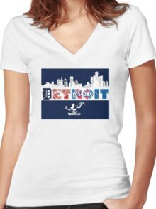 Detroit Sports Women's Fitted V-Neck T-Shirt