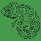 Maori Camouflaged Chameleon B/W  by Akuma91