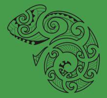 Maori Camouflaged Chameleon B/W  Kids Clothes