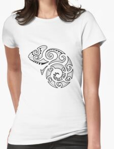 Maori Camouflaged Chameleon B/W  Womens Fitted T-Shirt