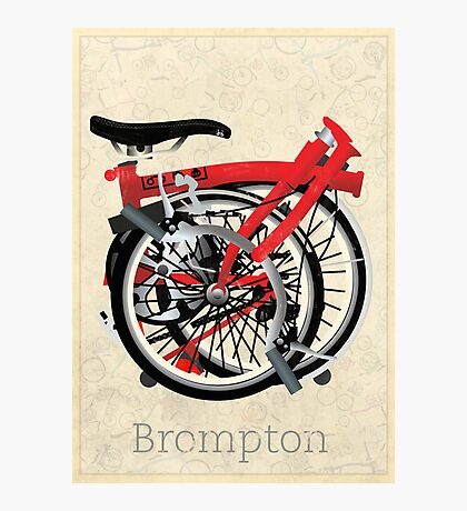 Brompton Bicycle Folded Photographic Print