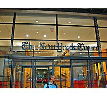 Security Guard, Entrance, New York Times Bldg, NYC Photographic Print