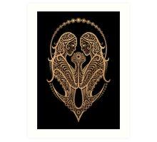Rustic Gemini Zodiac Sign on Black Art Print