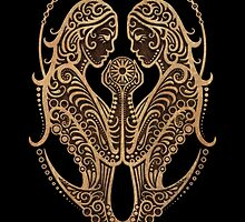 Rustic Gemini Zodiac Sign on Black by Jeff Bartels