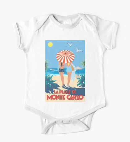 Classic Monte Carlo Vintage Travel Poster One Piece - Short Sleeve