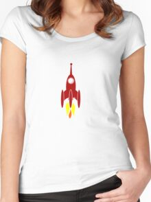 red rocket ship  Women's Fitted Scoop T-Shirt