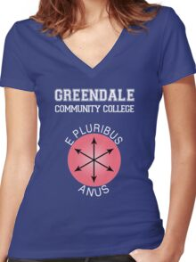 Greendale - E Pluribus Anus Women's Fitted V-Neck T-Shirt