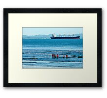Pulling in the Net - Playas, Ecuador Framed Print