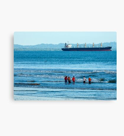 Pulling in the Net - Playas, Ecuador Canvas Print