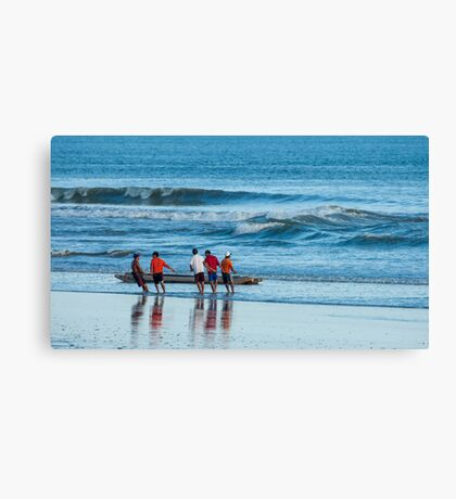 Pulling in the Net 2 - Playas, Ecuador Canvas Print