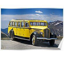 1937 White Touring Bus/Rocky Mountains Poster