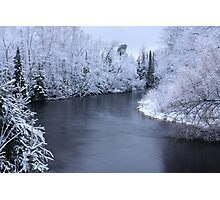 Snow on the Escanaba River Photographic Print