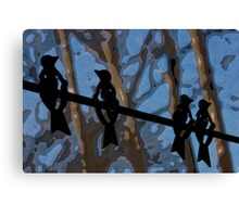 Blackbirds on a Wire Canvas Print