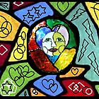 Stained Glass Happiness Mixed Media Print by Inner Child Art