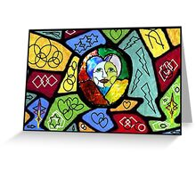 Stained Glass Happiness Mixed Media Print Greeting Card