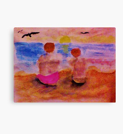 Solatude as the sun is setting, watercolor Canvas Print