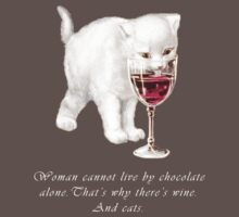 Chocolate Wine and Cats Facts of Life Tee by simpsonvisuals
