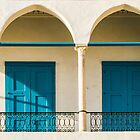 Arches and blue doors in Akko, Israel by Birgit Van den Broeck
