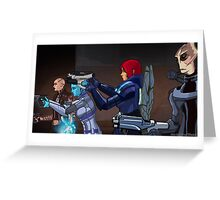 Mass Effect Cartoon - An Attack on the Cerberus Base Greeting Card