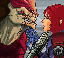 Mass Effect - Wrex vs. Shepard by GHaskell