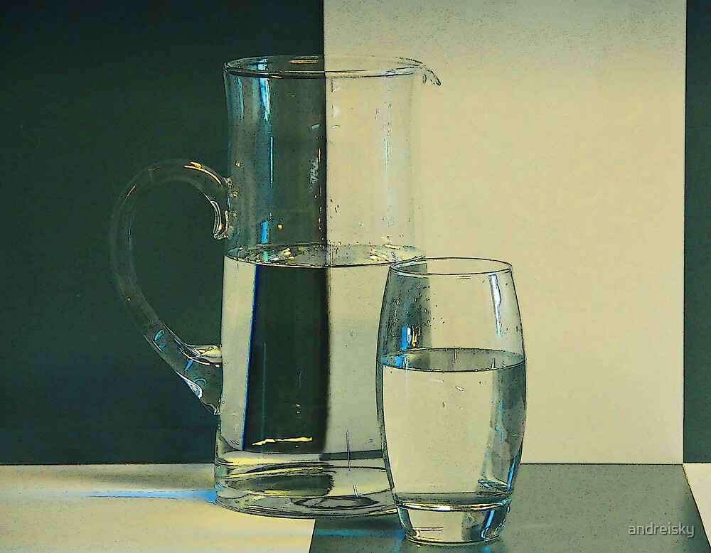 Simple two-color still life with jug and glass by andreisky