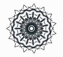 Metallic blue-grey on white Picasso Kalaeidoscope by Jennifer Mosher