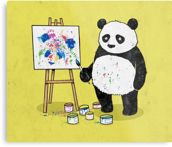 Pandas paint colorful pictures. by laurxy