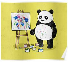 Pandas paint colorful pictures. Poster