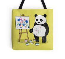 Pandas paint colorful pictures. Tote Bag