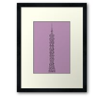 'Wordy Structures' Taipei 101 Purple Framed Print