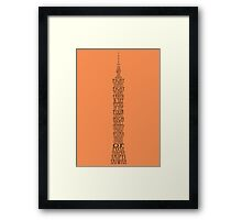 'Wordy Structures' Taipei 101 Orange Framed Print