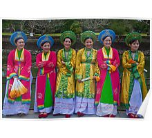 Vietnam. Hue. Ladies in National Costumes. Poster