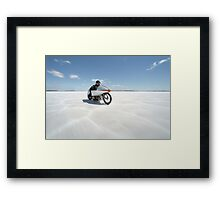 Suzuki Gt 750 at full throttle on the salt Framed Print