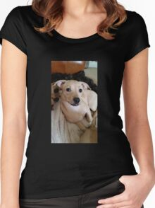 Pretty Posing Puppy Women's Fitted Scoop T-Shirt